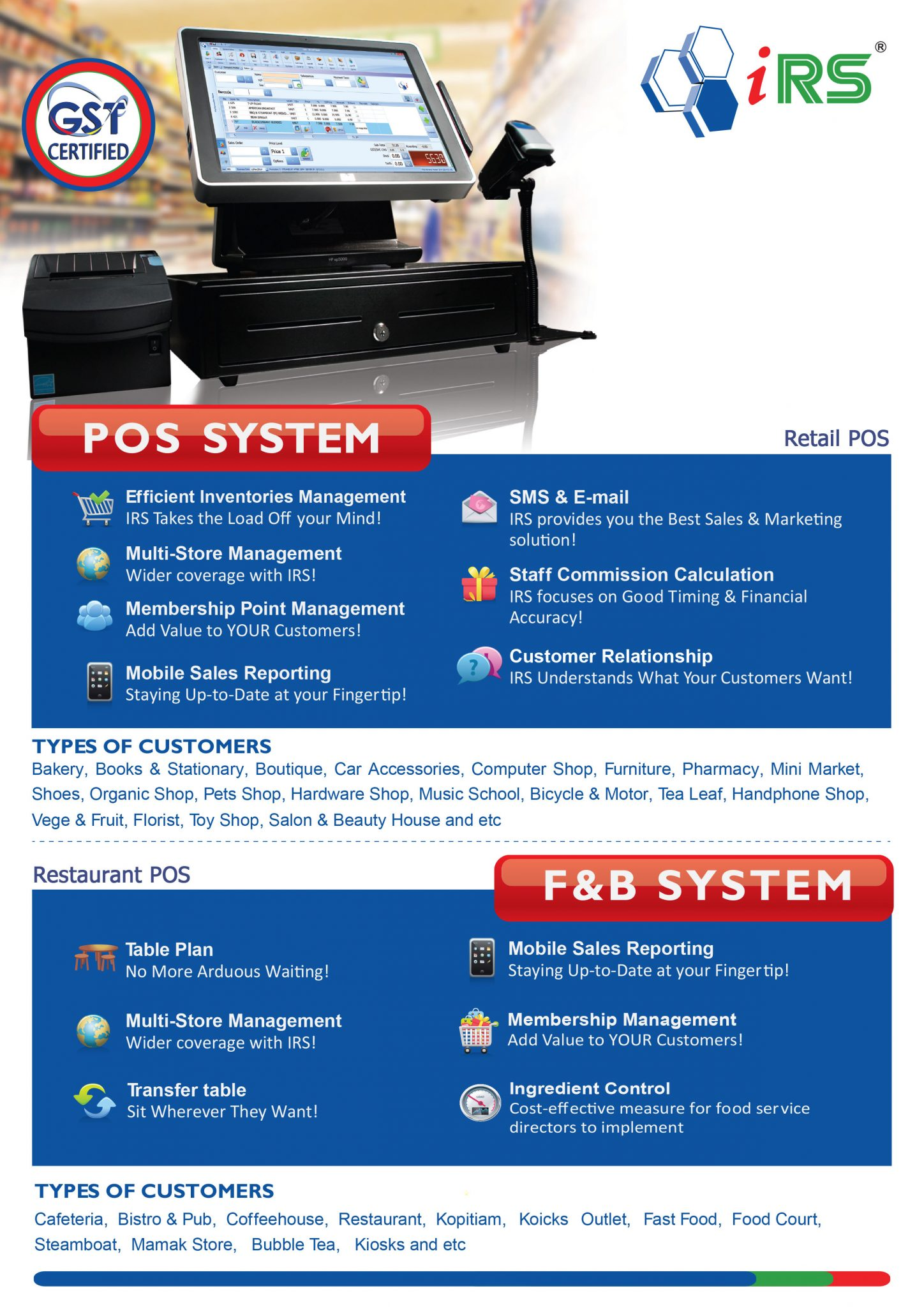 IRS POS System Features   POS System Malaysia Supplier